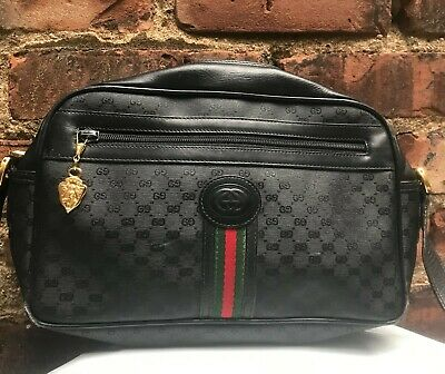 Authentic Vintage Gucci GG Black Leather Canvas Crossbody Bag