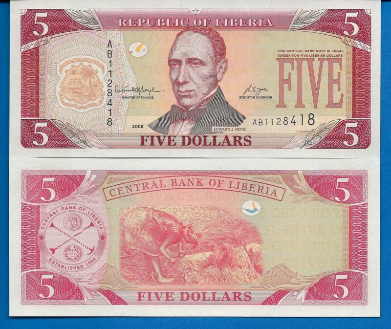 Liberia P-26a Five Dollars Year 2003 Uncirculated Banknote Africa