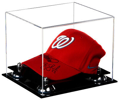 (Baseball Cap (or Hat) Clear Acrylic Display Case with Silver Risers (A006 - SR))