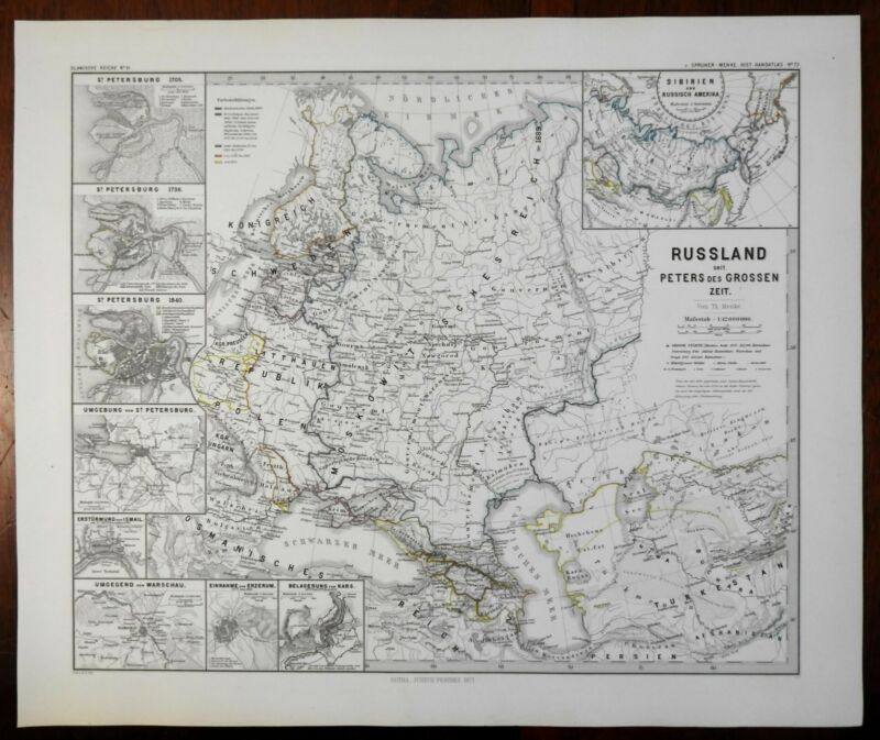 Russia Peter the Great Muscovy St. Petersburg Warsaw Spruner 1877 historical map