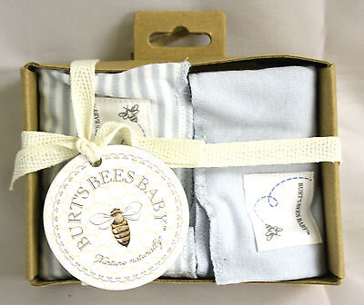 Burts Bees Baby Burp Cloths Blue White Solid Striped 2 pack one size Organic NIP