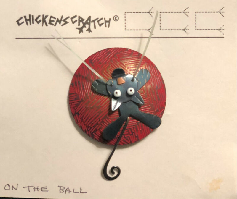 "Chickenscratch Jewelry, ""On The Ball"" Whimsical Pin by Lisa & Scott Cylinder"