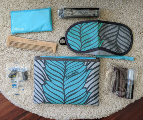 Hawaiian Airlines Amenities Kit Bag Complete w/Accessories Manuhealii