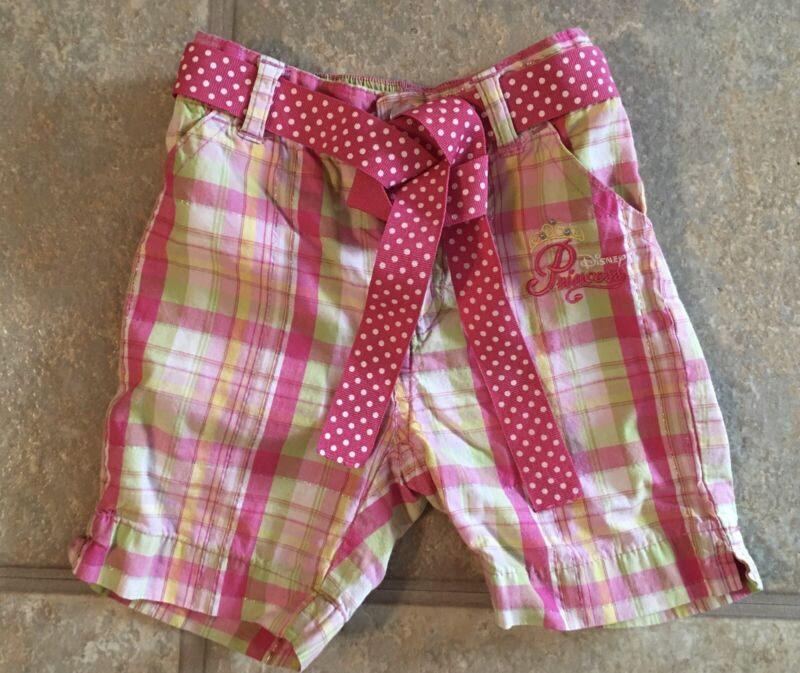 Disney Girl's Size 3T Pink Plaid 100% Cotton Shorts With Polka Dot Belt