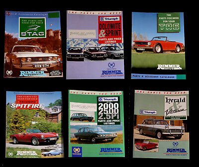 6 x Triumph Parts Catalogues -  Rimmer Bros- Stag-TR6-Herald-Spitfire-Sprint +