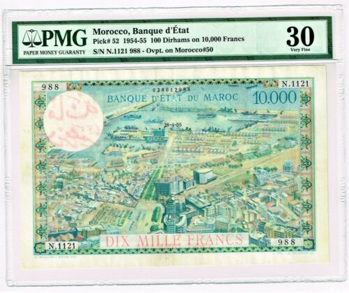 Morocco: 100 Dirhams on 10,000 Francs 28.4.1955 Pick 52. PMG Very Fine 30.