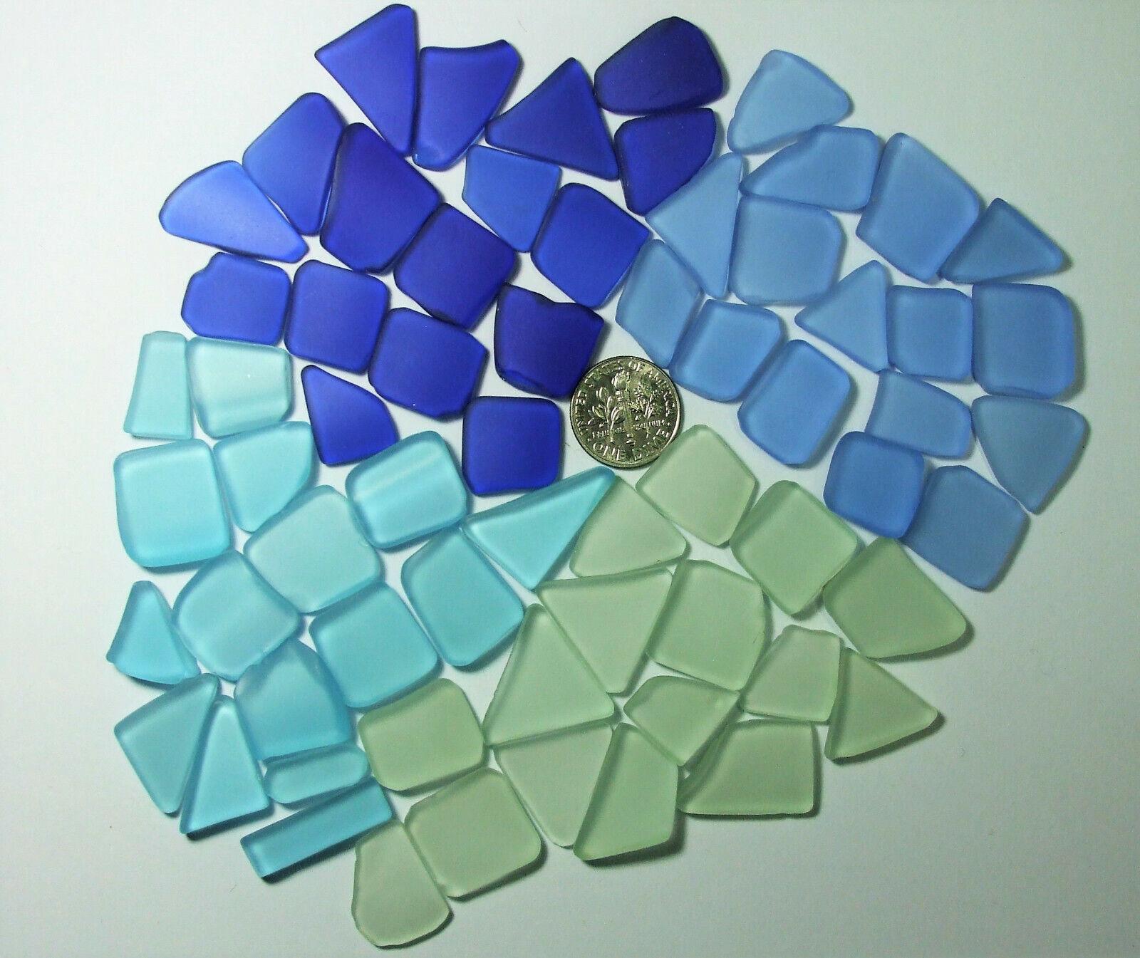 65 Small Blues Seafoam Cultured Beach Sea Glass Artist Mix Mosaics - $3.99