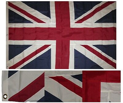 4x6 Embroidered Sewn UK United Kingdom Synthetic Cotton Flag 4'x6' w/ Clips