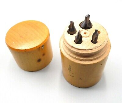Machinist Wooden Screw Box Container With 4 Bits