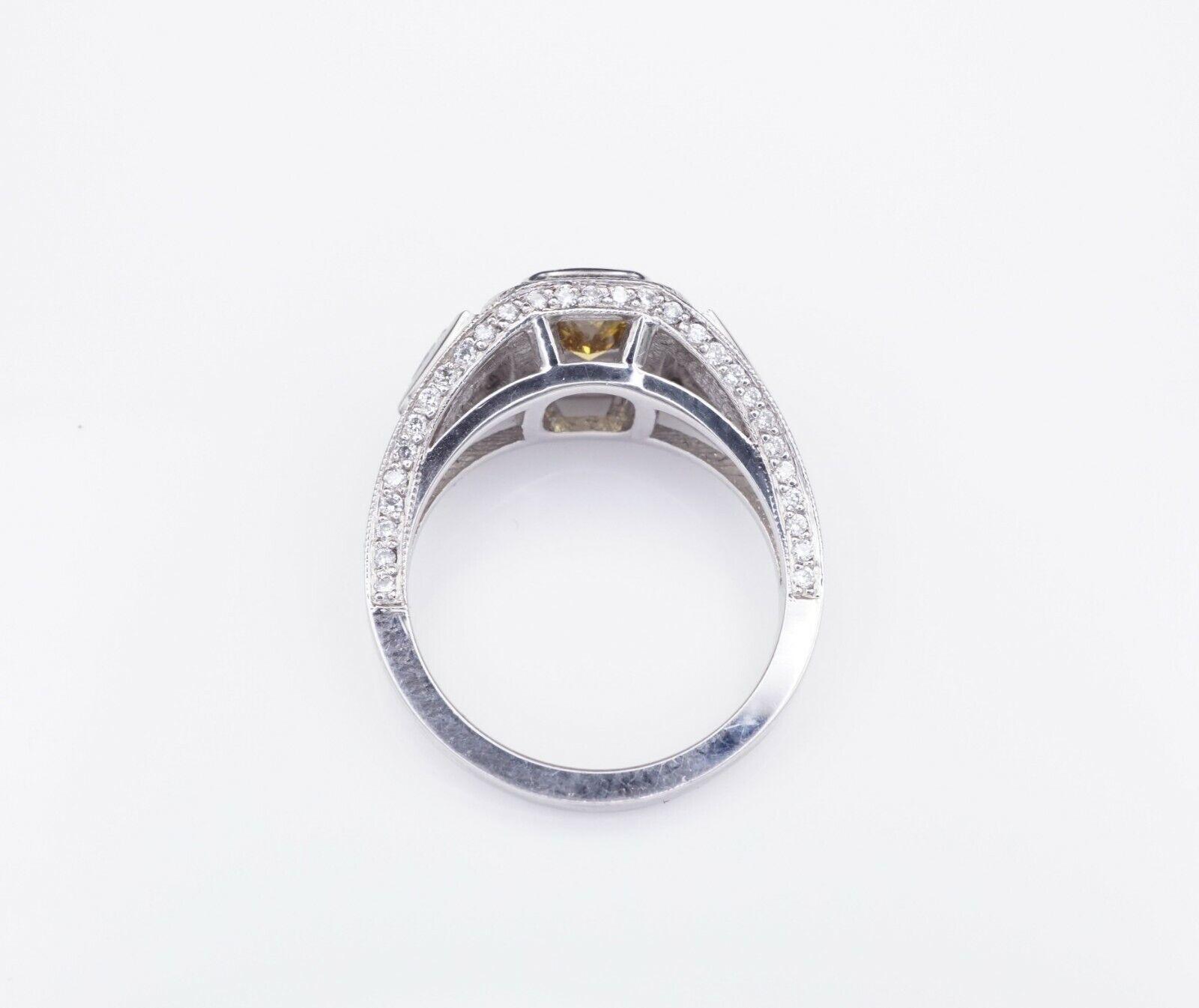 Platinum 3ct Orange-Yellow Diamond Halo Engagement Ring Size 6.75 GIA CO450 5