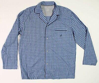 Nautica Mens Sleepwear Pajama Shirt Button Up SM New Plaid Blue Light