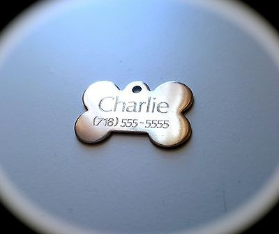 PET TAGS BONE (2.5cm) ID STAINLESS STEEL 2 SIDE DIAMOND ENGRAVE DOG CAT NAME TAG