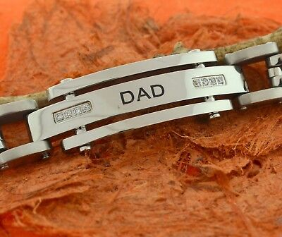 Steel Dad CZ Bracelet -Men's Jewelry, Anniversary,Gift for Him,Best