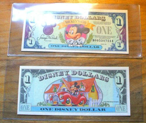 5 Disney Dollar Holders - Clear Large Size 7 7/8 x 3 3/8