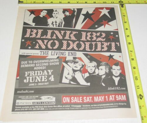 No Doubt Gwen Stefani Blink 182 Concert AD Advert 2004 Tour PNC  Bank Center NJ