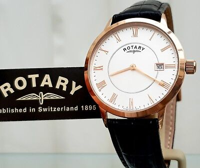 ROTARY Mens watch Slim Lightweight Leather strap Date Easy To Read RRP£189(r77)