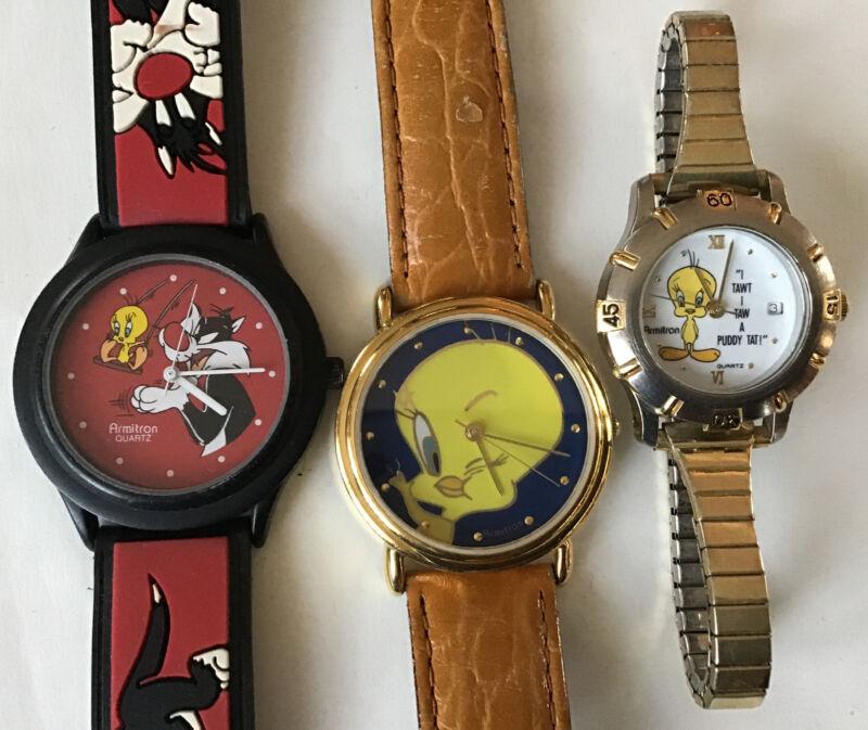 3 Vintage TWEETY BIRD & SYLVESTER watch Watches Armitron Warner Bros.