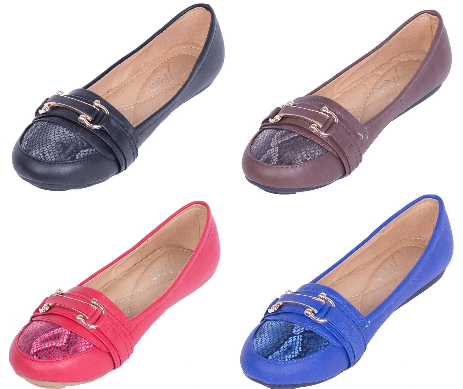 Women Ballerina Ballet Flats, PU Leather Slip-Ons Shoes w/ Two Horseshoes Buckle
