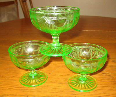 "Green Depression Glass Cameo ""Ballerina"" Sherbet Set Of 3"