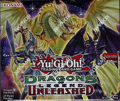 Yu-Gi-Oh Dragons of Legend Unleashed sealed booster box 24 packs of 5 cards
