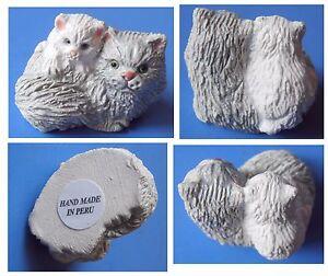Animali-famiglia-gatto-gatta-grigia-gattino-bianco-mamma-cucciolo-miniatura-Peru