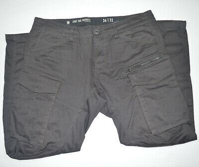 G-STAR RAW Rovic Zip 3D Straight Tapered Stretch Gray Cargo Pants Sz 36 x 32