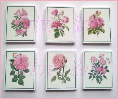 SET 6 PRETTY PINK FLOWER PICTURES / WALL ART FOR DOLLS HOUSE / ROOM BOX / STAIRS