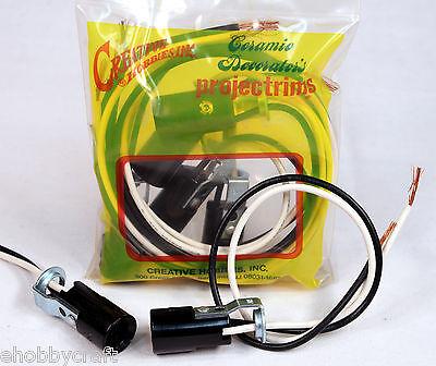 """5 Pack of Candelabra Base E12 Lamp Holder Light Sockets, Keyless, 6"""" Wire Leads"""