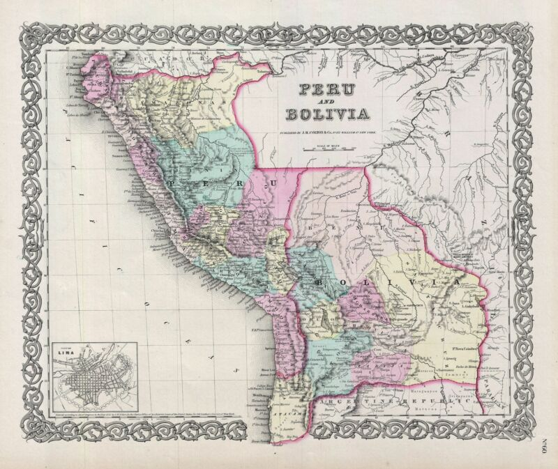 1856 Colton Map of Peru and Bolivia