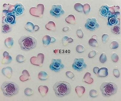 Nail Art 3D Decal Stickers Blue & Purple Roses Pastel Rose Petals Flowers E340 (Purple Nail Art)