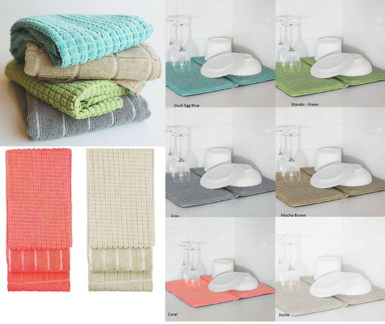 New Bambury Deluxe Dish Drying Mat or 3 Pce Microfibre Kitchen Tea ...