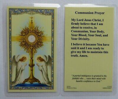 Communion Prayer - Laminated Holy Card - Communion Prayer Holy Card