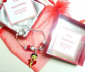 Betty Boop Charm Bracelet Personalised Box Birthday Anniversary  Valentines Gift