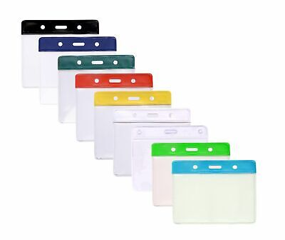 Flexible Plastic Id Card Badge Holder Pocket - 7 Colours Available Free Pp