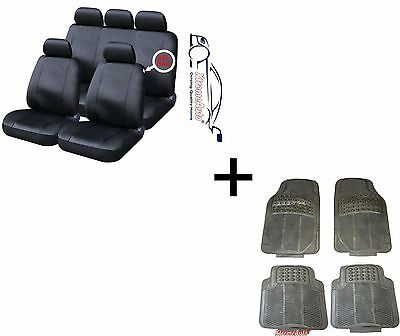 LUXURY HIGH QUALITY UNIVERSAL LEATHER LOOK CAR SEAT COVERS MATCHING RUBBER MATS