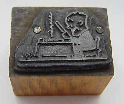 Printing Letterpress Printers Block Man At Desk