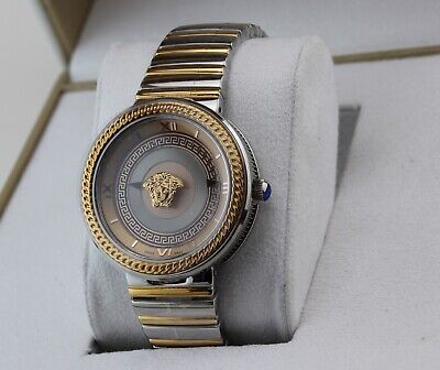 NEW AUTHENTIC VERSACE V-METAL ICON SILVER GOLD WOMENS VELC00818 WATCH