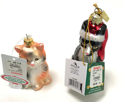 Vintage Lot of 2 Bronners Cat Christmas Ornaments  ()