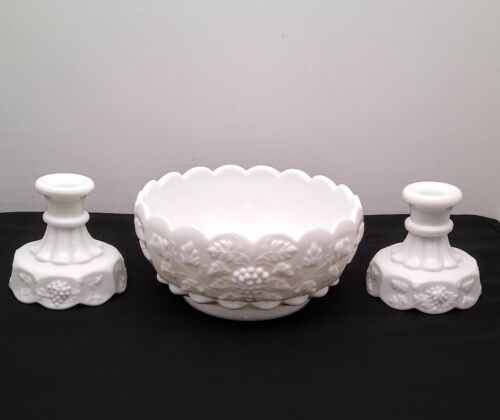 Westmoreland White Milk Glass Paneled Grape Centerpiece Bowl & Candle Holders