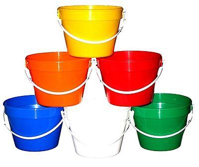 12  1 Gallon Plastic Buckets 2 ea Red Yellow Green Blue White Orange Mfg USA
