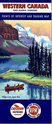 1956 Chevron Road Map: Western Canada and Alaska Highway NOS