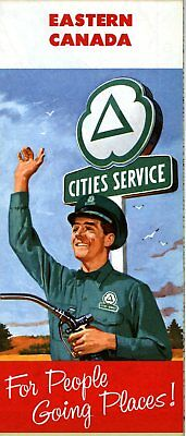 1958 Cities Service Road Map: Eastern Canada NOS