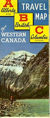 1957 ABC Alberta and British Columbia Travel Map of Western Canada Road Map NOS