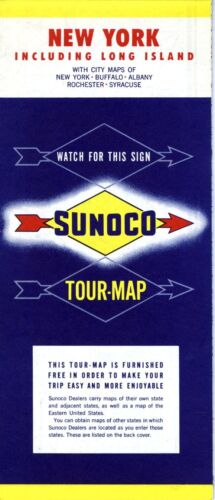 1955 Sunoco Road Map: New York NOS