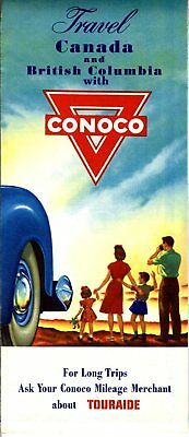1948 Conoco Road Map: Canada and British Columbia NOS