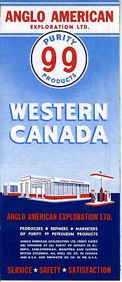 1958 Anglo American Exploration Purity 88 Road Map: Western Canada NOS
