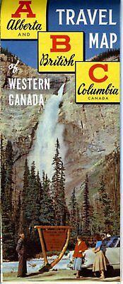 1958 ABC Travel Map of Western Canada Road Map: Alberta British Columbia NOS