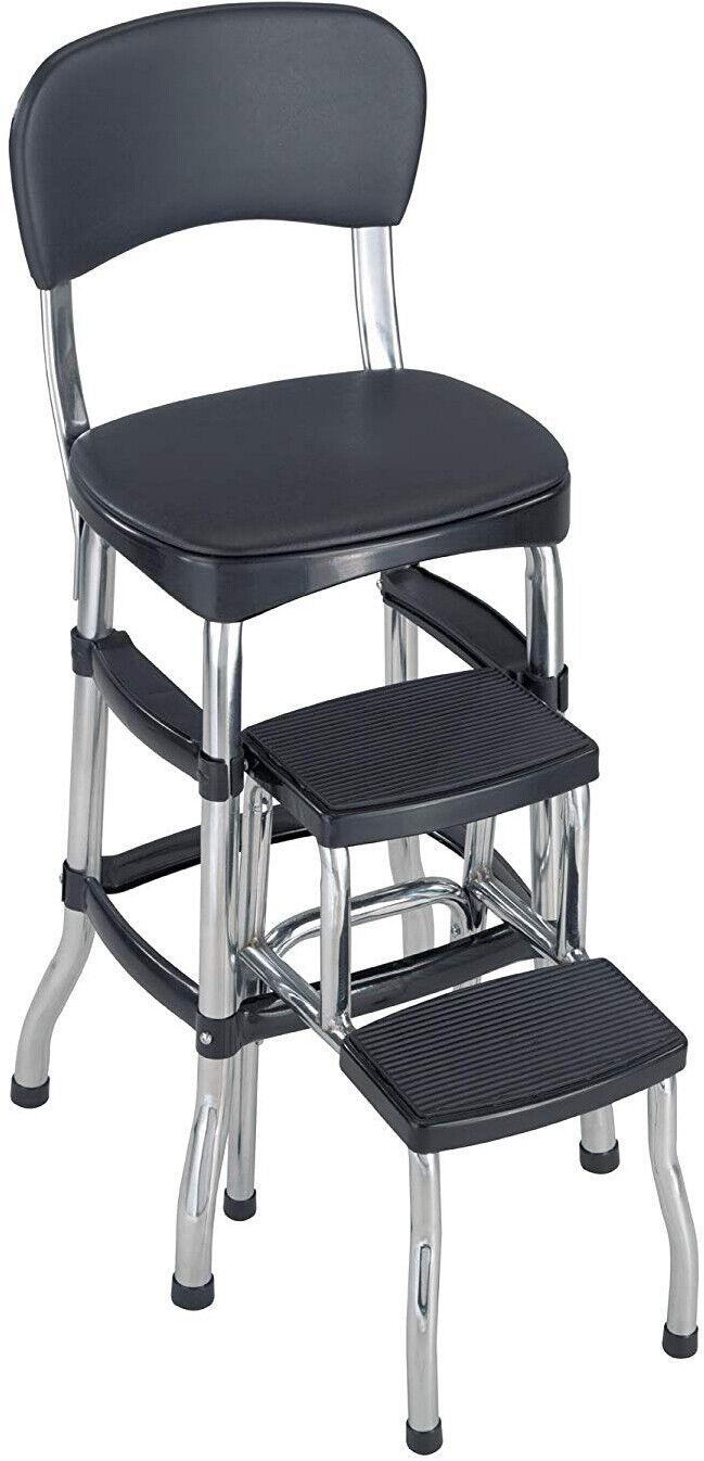 Black Folding Step Stool Kitchen Office Home Chair Back Retr