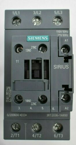SIEMENS Contactors 3RT2036-1AK60 QTY:3