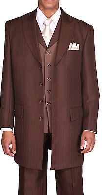 3 Piece Zoot Suit - Men's Unique Designed, Zoot suit,3 piece With Matching Vest Brown Size 38R~56L
